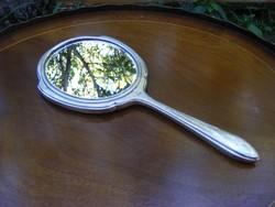 Nagy méretű Sterling 925 -ös, jelzett, antik ezüst kézitükör, eredeti csiszolt tükörrel, ezüst tükör