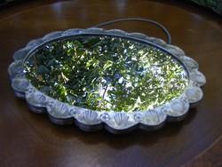 Antik ezüst 900 ezrelékes, jelzett, trébelt, akasztós falitükör, gyönyörű állapotban, ezüst tükör