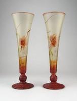 0O263 Jelzett Golden Flora üveg váza pár 22 cm