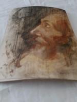 Fa lapra festett portré