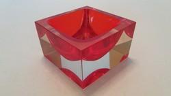 Moser piros üveg hamuzó régi hamutál dísztárgy 8 cm