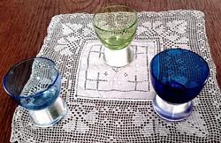 ANTIK ART DECO három színű üveg  likőrős,pálinkás pohár 3db