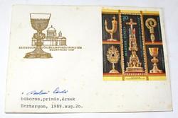 Paskai bíboros aláírása esztergomi-kincstári bélyegzett borítékon.