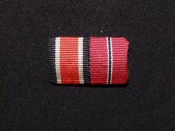 II.vh Német szalag sáv vaskereszt - ostmedál ,mini ,kitűző