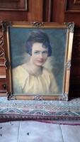 Antik női portré csodaszép Blondel képkeretben 47x 57 cm