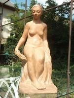 Törölköző nő-akt terrakotta, jelz.kisplasztika-szobor