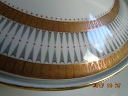 1950 VINTAGE Aranymintás fedéllel magas levesestál 16x25 cm