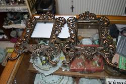 2 darab öntöttvas bronzírozott angyalkás keret