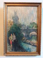 Impresszió : Üveg + keret olajpasztell kép Milo Manara stílusában Köd a Pont Neuf felett  38 X 27 cm