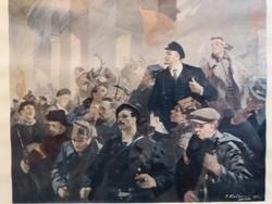 1960. Nicolai Babasiouk festményének nyomata Lenin érkezése Pétervárra pártházas fali kép 43 X 33 cm