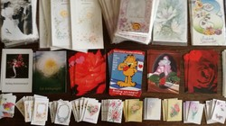 Retro képeslapok, meghivók, üdvözlő kártyák 110+78 db