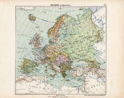 Európa politikai térkép 1913, eredeti, teljes atlasz, Kogutowicz Manó, politika, régi, magyar nyelvű