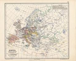 Európa térkép 1810, kiadva 1913, eredeti, teljes atlasz, Kogutowicz Manó, történelem, történelmi