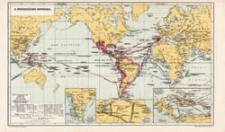 Világtérkép, kiadva 1913, A felfedezések kora, eredeti, teljes atlasz, Kogutowicz Manó, térkép, régi