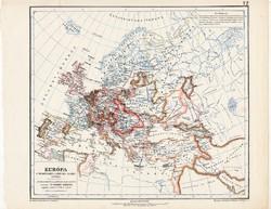 Európa térkép a Mátyás király korában, kiadva 1913, eredeti, atlasz, Kogutowicz Manó, történelmi