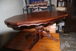 Barok ,intarziás póklábú szalon asztal 120x70x55cm