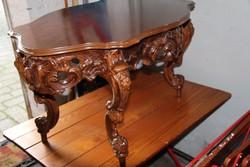 Antik barok dúsan faragott szalon asztal  110x70x56cm