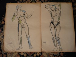 2 db eredeti, bevizsgált színes Kmetty János akt festmény 60*40 cm