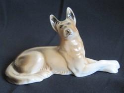 Régi ROYAL DUX németjuhász kutya, festett porcelán kutya figura