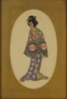 0O324 Régi japán gésa selyemkép 38 x 29 cm