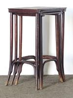 0O368 Jelzett antik bécsi thonet kisasztal 3 darab