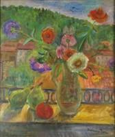 0O462 Molnár Róza : Virágcsendélet gyümölcsökkel