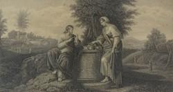 0O332 Krisztus és a szamáriai asszony acélmetszet