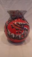 Zsűrizett retro iparművész kerámia váza 17,5 cm