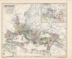 A Római Birodalom legnagyobb kiterjedése korában, térkép, kiadva 1913, eredeti, atlasz, történelmi