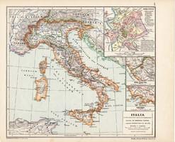 Itália térkép, kiadva 1913, Roma Vetus, eredeti, atlasz, történelmi, Kogutowicz Manó, történelmi