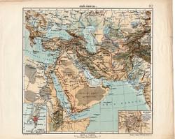 Elő - Ázsia térkép 1913, eredeti, teljes atlasz, Kogutowicz Manó, régi, hegy- és vízrajz
