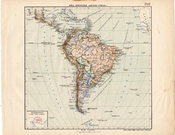 Dél - Amerika politikai térkép 1913, eredeti, atlasz, Kogutowicz Manó, régi, Nagy - Magyarország