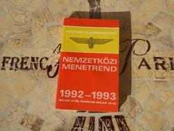 Magyar Államvasutak Nemzetközi menetrend 1992-1993 MÁV Nemzetközi menetrend 1992-1993