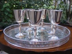 Sheffield áttört szélű tálcán 6 db talpas pohár, 7 db-os készlet, gyönyörű luxus kivitel.
