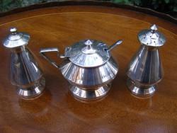 Ezüstözött, antik, art deko fűszerszóró páros és üvegbetétes fűszertartó edényke fűszeres kanállal