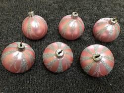 Antik üveg karácsonyfadísz csillámló  kézzel készített gömb