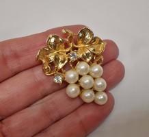 Gyönyörű antik gyöngyös köves bross