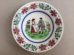 Antik fali tányér Wilhelmsburgi fajansz dísztányér falitányér Magyar népviselet