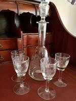 Antik metszett üveg likőrös készlet