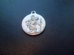 Saint Christopher Avignon ezüstözött medál /gyönyörű állapotban/