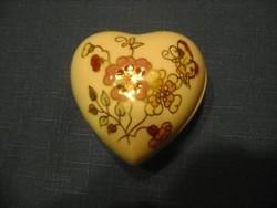 Zsolnay pillangós, virágos szív alakú bonbonier
