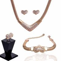 Gold Filled fülbevaló-nyaklánc-gyűrű-karkötő szett GFSZ21
