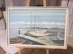 Szabó miklos balatoni kikötő festmény