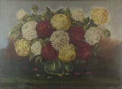 0O394 Magyar művész 1940 körül : Krizantémok