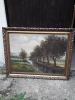 Antik nagyméretű olajvászon festmény fellelt állapotban. Szignált.