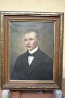 Krizsán János nagybányai festőművész karakteres férfi portré olajfesztménye.Régi képkeretbe.