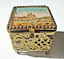 Tűzaranyozott csipkézett áttört antik bronz gyűrűs doboz