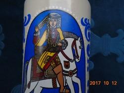 Kerámia kupa-színes lovas királyokkal-11,5 cm