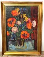 Freytag Zoltán ( 1901-1983) Pipacsok II. c olajfestménye 81x61cm eredeti garanciával..