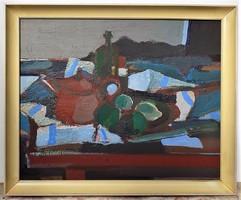Bencs Gábor (1936-) Asztali csendélet c olajfestménye képcsarnokos 75x61cm eredeti garanciával..